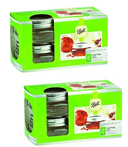 Ball 1440061162 Collection Elite Brushed Silver Design Wide Mouth Jars 8 Oz with Lid and Bands, 4-Count (8) ()