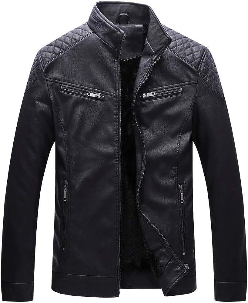 Jushye Mens Zipper Jacket,Autumn Winter Symmetric Pocket Stand Collar Imitation Leather Coat