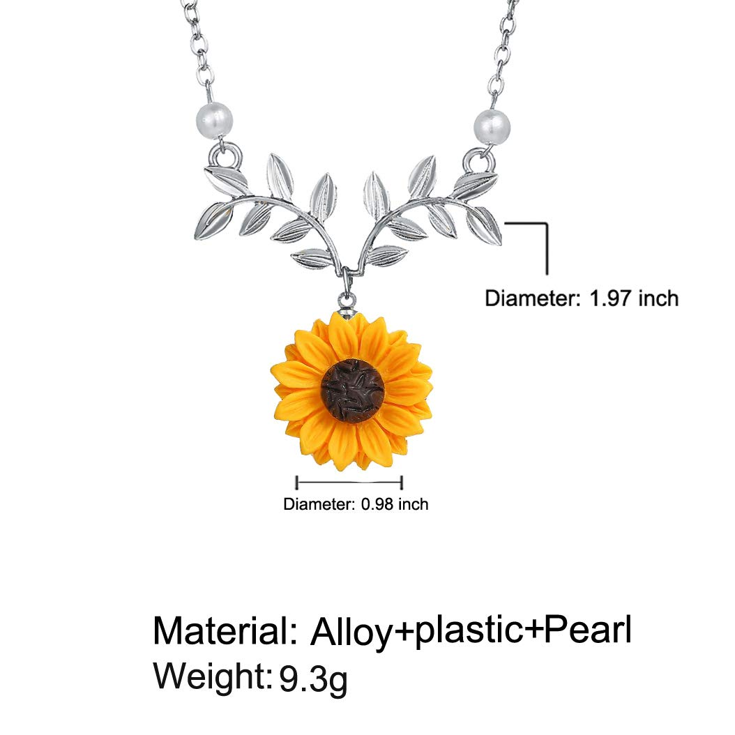 17mile Sunflower Pearl Leaf Chain Resin Boho Handmade Drop Pendant Choker Necklace Plated Gold//Rose Gold//Silver
