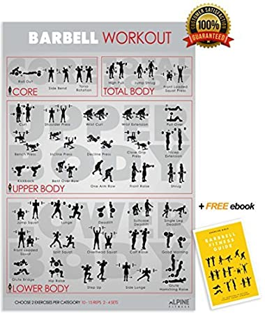 Barbell Exercise & Fitness Poster | Laminated Gym Planner for a Great Workout - Guide to Build Muscle & Strength | Alpine Fitness