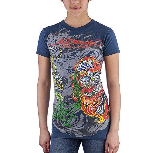 Ed Hardy Kids Girls Flaming Tiger T-Shirt -Blue - 8