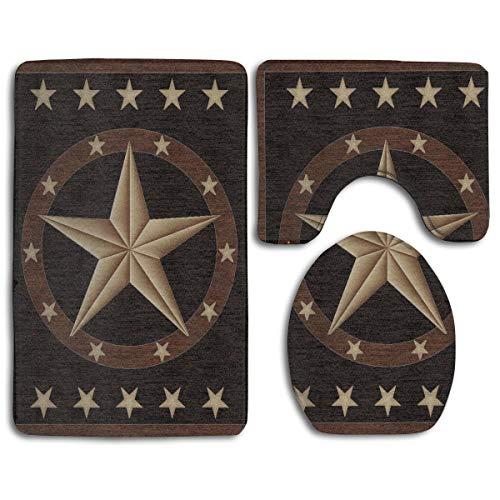 DING Western Texas Star Soft Comfort Flannel Washroom Mats,Anti-Skid Absorbent Toilet Seat Cover Bath Mat Lid Cover,3pcs/Set Rugs