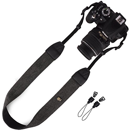 DSLR / SLR Camera Strap - Wolven Camera cotton canvas Neck Shoulder Belt Strap for Nikon Canon Samsung Pentax Sony Olympus Fujifilm Instax Polaroid Pringo - Black (Pentax Strap)