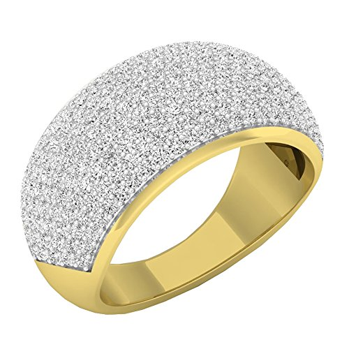 (Dazzlingrock Collection 1.40 Carat (ctw) 18K Round White Diamond Ladies Cocktail Right Hand Ring, Yellow Gold, Size)