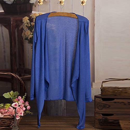 Hauts Lâche Vêtements Sun D'hiver Long Honestyi Protection Mode Modale Femmes Manteau Bleu De Cardigan Et Femme Mince qnSRAAt