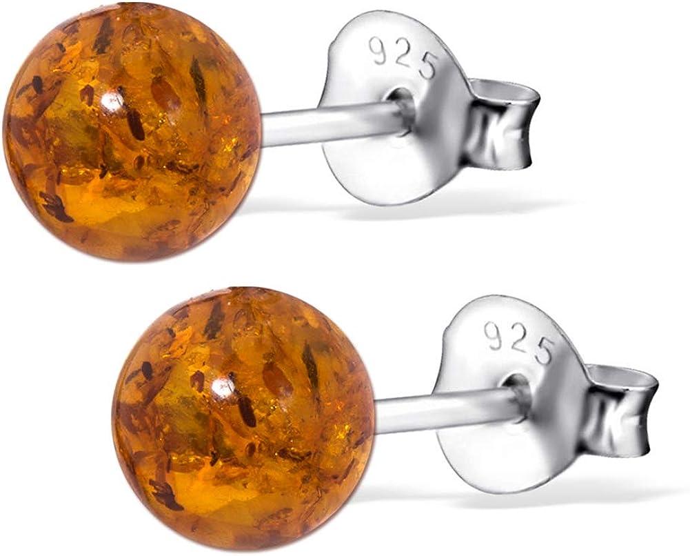 Anánte Premium Collection – Pendientes de ámbar en plata de ley 925 * * Bola * Certificado – Oro del Mar – Color coñac