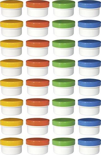 32 Salbendöschen, Cremedöschen, Salbenkruke 6ml Inhalt mit farbigen Deckeln - MADE IN GERMANY
