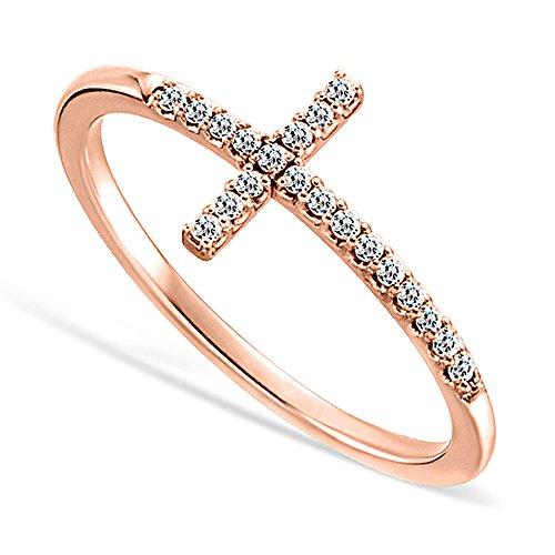 DTLA Sideways Cross CZ Rose Gold Plated Sterling Silver Ring