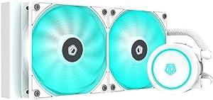 ID-COOLING AURAFLOW X 240 Snow CPU Water Cooler 12V RGB AIO Cooler 240mm CPU Liquid Cooler 2X120mm RGB Fan, Intel 115X/2066, AMD TR4/AM4