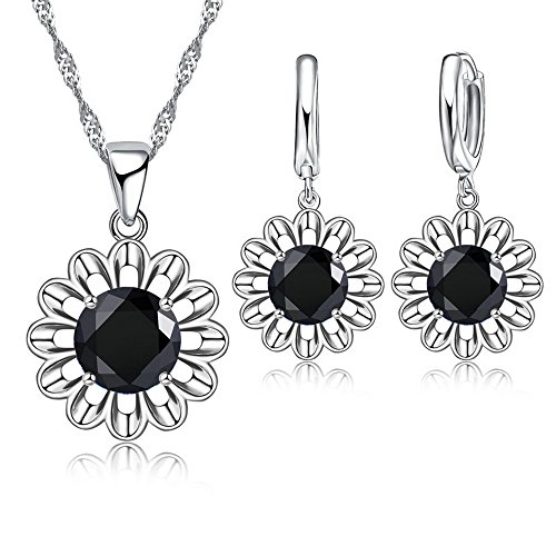 jemmin Romantic Jewelry Set Beautiful Zircon Sun Flower Pendant Necklace Earrings (Black)