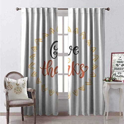 Hengshu Thanksgiving Window Curtain Fabric Give Thanks Calligraphy in Sun Pictogram Frame Print Drapes for Living Room W72 x L108 Burnt Sienna Dark Grey Dark -