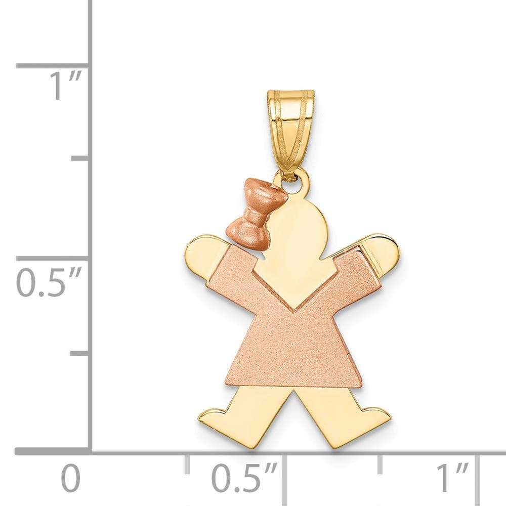 14K Two Tone Gold Small Girl with Bow on Left Engravable Charm