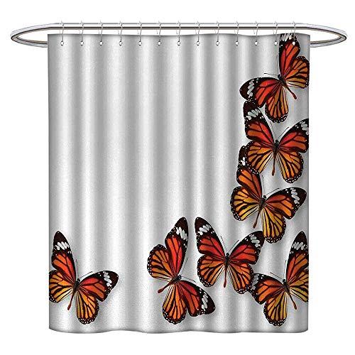 (LewisColeridge Extra Wide Shower Curtain Butterflies,Monarch Butterfly Figures Flying Frame Insect Exotic Weather,Dark Brown Marigold Orange,Rustproof Metal Grommets Bathroom Shower Curtain)