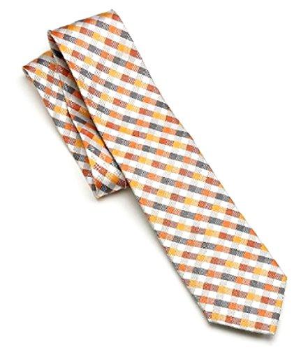 Croft & Barrow Mens 100% Silk Gingham Designer Fashion Necktie Orange Plaid (Bean Ll Capris)