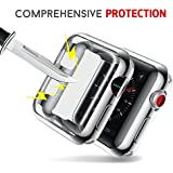Smiling Apple Watch 3 Case Buit in TPU Screen Protector All-Around Protective Case High Definition Clear Ultra-Thin Cover for Apple Watch 42mm Series 3 and Series 2 (Silver, 42mm)