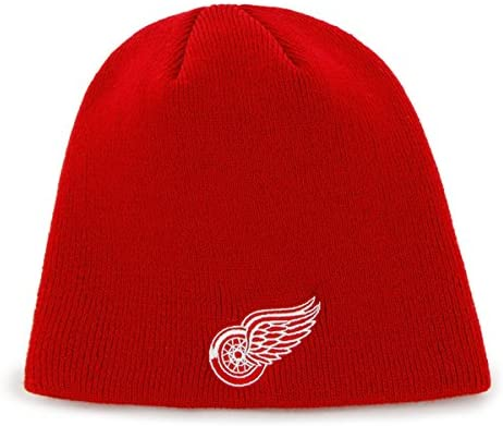 online retailer ef50c b65ad Detroit Red Wings Red Skull Cap - NHL Cuffless Winter Knit Toque Beanie Hat