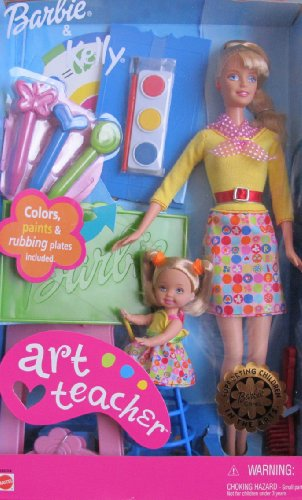 ART TEACHER Barbie & Kelly Doll I Can Be... Career Series w Desk, Rubbing Plates & MORE! (2002)