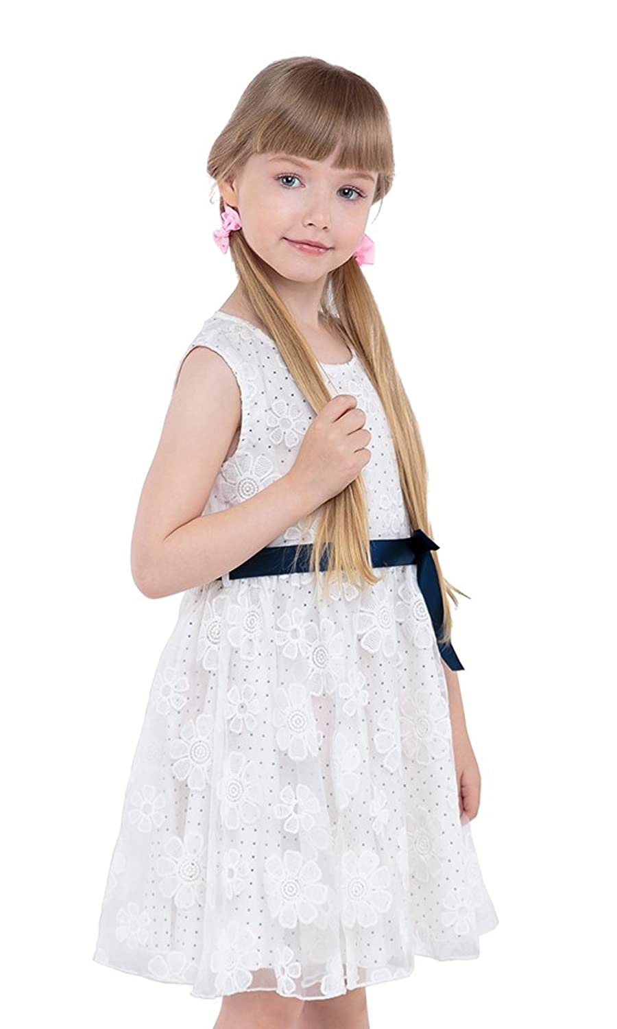 JI Little Girls Dresses With Ribbon Lace Top and Polka Dot Lining Size 3-7
