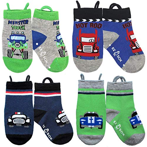Ez Sox Toddler Boys Girls Socks Non Skid Seamless Toe Anti Slip Grip Pull Up Loops (Small, Monster Truck-Cars) (Pairs Of Words That Sound The Same)