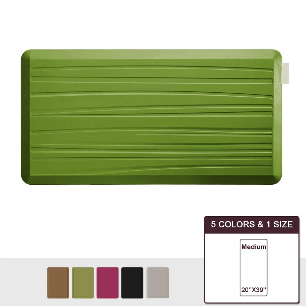 NUVA Anti Fatigue Standing Floor Mat 39 x 20 in, NO PVC!!! 100% PU Comfort Ergonomic Material, 4 Non-slip PU Elastomer Strips on Bottom, 5 Safety Test by SGS (Olive Green, Beach Pattern)