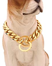 """MCSAYS Fashion Pet Dog Stainless Steel Choke Curb Link Chain Gold Choker Collar Necklace 15mm 12""""-34"""""""