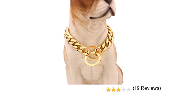 MCSAYS Fashion Pet Dog Stainless Steel Choke Chain Steel Silver Choker Collar Necklace 15mm 12-34
