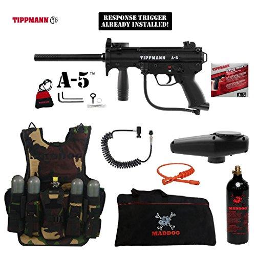 (MAddog Tippmann A5 A-5 w/Response Trigger Lieutenant Tactical Camo Vest Paintball Gun Package - Black)