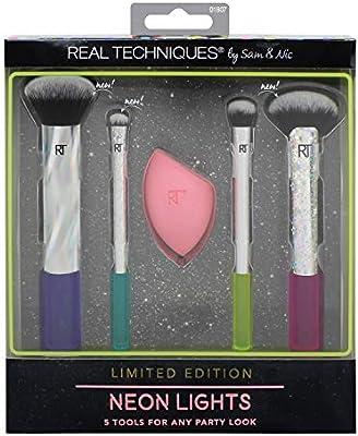 Real Techniques - Juego de brochas de maquillaje con luces de neón, incluye esponja milagrosa (edición limitada 2018): Amazon.es: Belleza