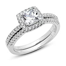 925 Sterling Silver Cushion Cubic Zirconia CZ 2Pc Halo Wedding Engagement Ring Set