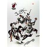 (11.7 X 8.3) Miami Heat Print Signed (Pre-print Autograph) LeBron James Dwyane Wade