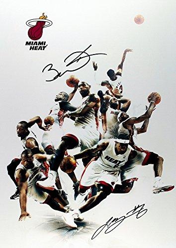 ((11.7 X 8.3) Miami Heat Print Signed (Pre-print Autograph) LeBron James Dwyane Wade)