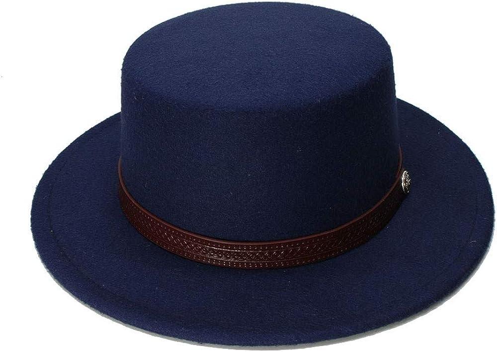 Retro Kid Vintage Wool Wide Brim Cap Pork Pie Porkpie Bowler Hat Solid Coffee Leather Band