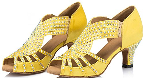 CFP JJ-6173 Womens Latin Tango Salsa Ballroom Party Wedding Peep-Toe Kitten Heel Satin Dance-Shoes Yellow auuaIv
