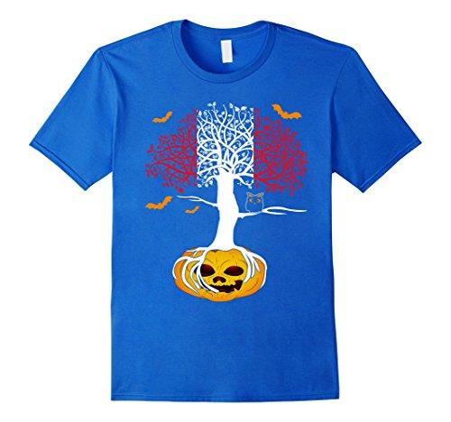 Mens Spooky Tree Hallowen Flag PERU Crow Pumpkin TShirts 2XL Royal (Peru Costume Boy)