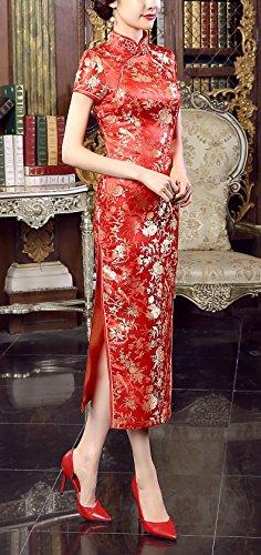 Longue Fleur Femme Robe Rouge Cheongsam Qipao Satin Imprimé En Acvip Chinois 0WRwPExqx