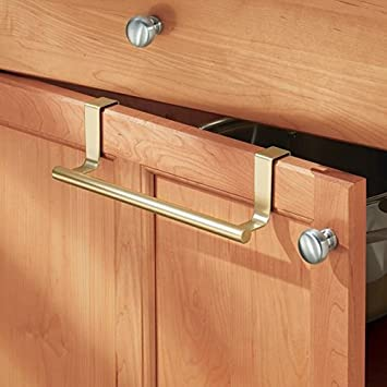 MDesign Over The Cabinet Kitchen Dish Towel Bar Holder   9u0026quot;, Pearl