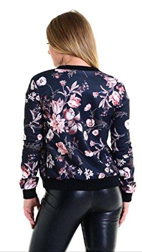 Ladies Larga Fashions Print con L Islander Cremallera Estampado Poppy Chaqueta Mujer M Biker con M Manga Floral Bomber Jacket Black Blazer S 0nFqz