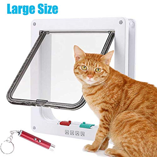 RESTER Anti-Cracking 4 Ways Locking Magnetic Smart Cat Flap Door for Interior Exterior Use with Interactive Toy(Large)