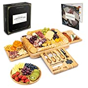 #LightningDeal Smirly Cheese Board and Knife Set: 16 x 13 x 2 Inch Wood Charcuterie Platter for Wine, Cheese, Meat