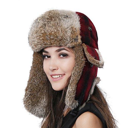 Rabbit Fur Aviator Trapper (FURTALK Natural Rabbit Fur Ushanka Trapper Hat Bomber Aviator Winter Cap for Women)