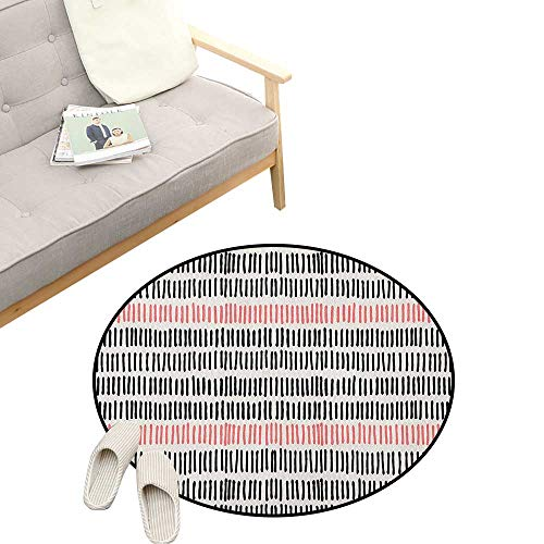 (Abstract Baby Room Decor Round Carpets ,Abstract Pattern with Short Lines Chalkboard Geometric Simple Retro Artwork Print, Print Custom Floor mats 47