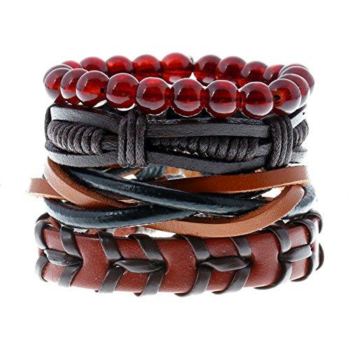 Flower Band Bangle (Leather Bracelet for Men Wrist Band Brown Rope Bracelet Bangle DALARAN)