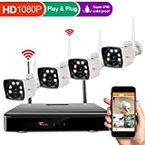 [4CH 1080P DVR] CORSEE AUTO PAIR Plug and Play Wireless Security Camera System,720P HD Weatherproof Wifi Cameras,Motion Detection,Alarm Function and Smartphone Remote View by ISO or Android App,No HDD