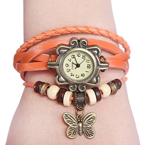 Watches for Women, Braid Weave PU Strap Bracelet Quartz Analog Watch Wristwatch with Butterfly Pendant(Orange)