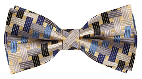 (Flora&Fred Handmade Jacquard Woven Designer Geometric Bow Tie Yellow and)