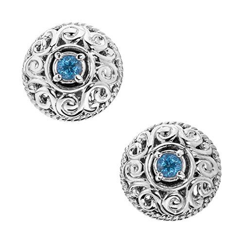 - Carolyn Pollack Sterling Silver Blue Topaz December Birthstone Button Earrings