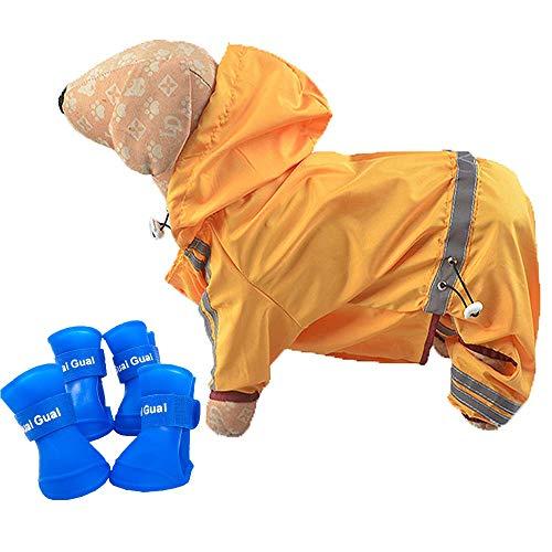 Small Dog Raincoat&Rain Boots Set | Hooded & Four-Legs Pet