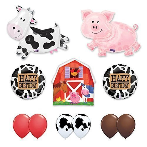 Barn Farm Animals Birthday Party Cow, Pig, Barn Balloons Decorations Supplies by Anagram ()