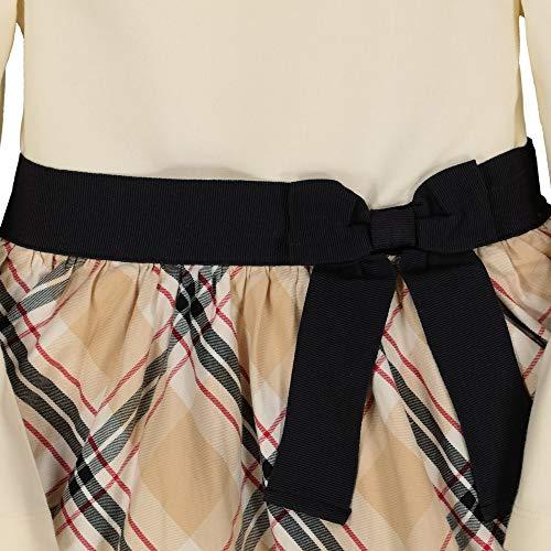 Hope & Henry Girls' Mixed Fabrication French Skater Dress with Waist Sash