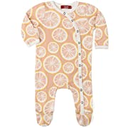 MilkBarn Organic Cotton Footed Romper Grapefruit (0-3 Months)